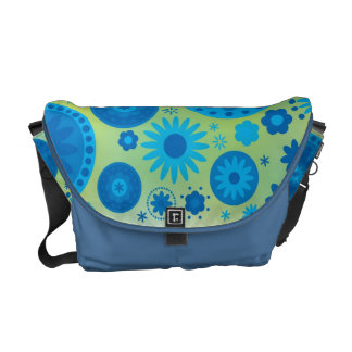 Blue and Turquoise Hippy Flower Pattern Courier Bags
