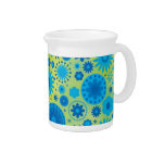 Blue and Turquoise Hippy Flower Pattern Drink Pitchers