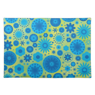 Blue and Turquoise Hippy Flower Pattern Placemat