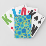 Blue and Turquoise Hippy Flower Pattern Poker Cards