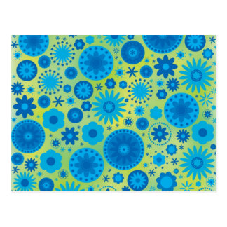 Blue and Turquoise Hippy Flower Pattern Post Cards