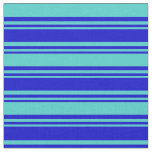 [ Thumbnail: Blue and Turquoise Lines/Stripes Pattern Fabric ]