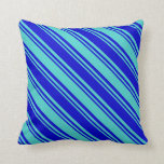 [ Thumbnail: Blue and Turquoise Lines/Stripes Pattern Pillow ]