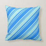 [ Thumbnail: Blue and Turquoise Lines Throw Pillow ]