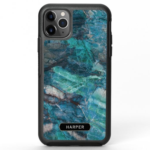 Blue and Turquoise Marble Pattern with Name OtterBox Symmetry iPhone 11 Pro Max Case