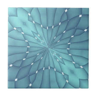 Blue and Turquoise Metallic Star Ceramic Tile