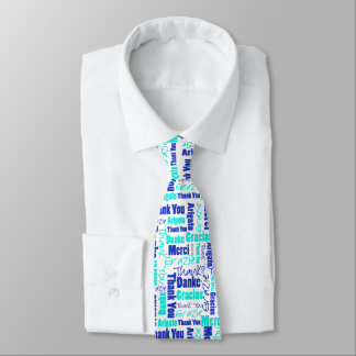 Blue and Turquoise Multilingual Thank You Neck Tie