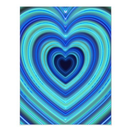 """Blue and Turquoise Neon Lighted Hearts 4.25"""" X 5.5"""" Invitation Card"""