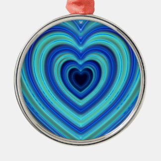 Blue and Turquoise Neon Lighted Hearts Metal Ornament
