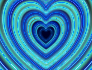 Blue And Turquoise Neon Lighted Hearts Postcard
