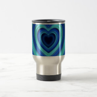 Blue and Turquoise Neon Lighted Hearts Travel Mug