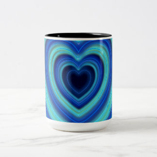 Blue and Turquoise Neon Lighted Hearts Two-Tone Coffee Mug