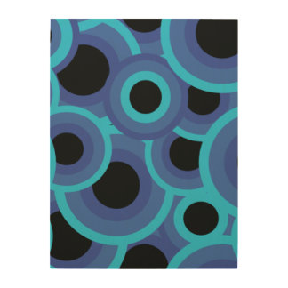 Blue and turquoise psychedelic circles wood wall art