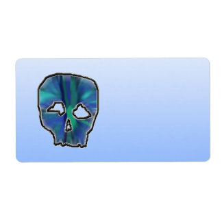 Blue and Turquoise Skull. Label