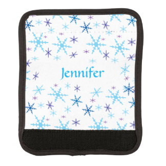 Blue and Turquoise Snowflakes Luggage Handle Wrap