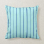 [ Thumbnail: Blue and Turquoise Striped/Lined Pattern Pillow ]