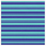 [ Thumbnail: Blue and Turquoise Stripes/Lines Pattern Fabric ]