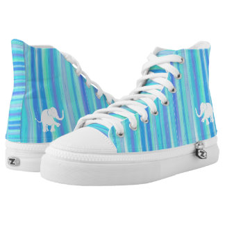 Blue and turquoise stripes with white elephant High-Top sneakers