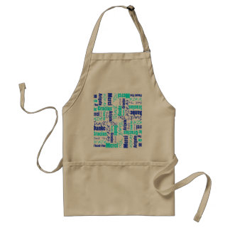 Blue and Turquoise Thank You Word Cloud Adult Apron