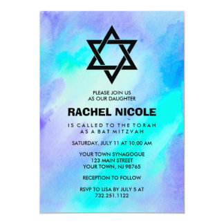 Blue and Turquoise Watercolor Look Bat Mitzvah Card
