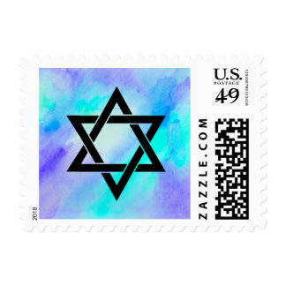 Blue and Turquoise Watercolor Look Star of David Postage Stamp