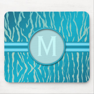 Blue and Turquoise Zebra Stripe with Monogram Mouse Pad