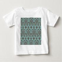 Blue and Umber Elegant Damask Pattern Baby T-Shirt