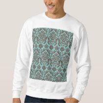 Blue and Umber Elegant Damask Pattern Sweatshirt