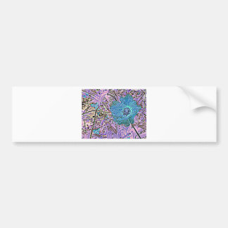 BLUE AND  VIOLET FLORAL BUMPER STICKER