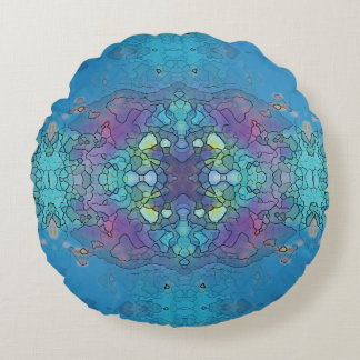 Blue and violet ocean impression round pillow