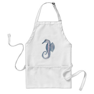 Blue and violet sea horse adult apron