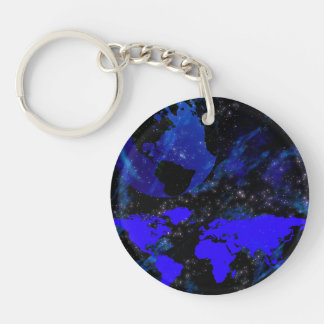 Blue And Violet World Keychain