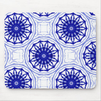 Blue and while flower pattern mouse pad