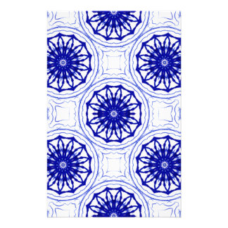 Blue and while flower pattern stationery