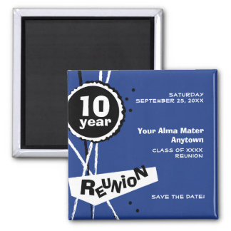 Blue and White 10 Year Class Reunion Magnet