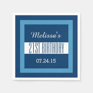Blue and White 21st Birthday Custom V01D1 Paper Napkin