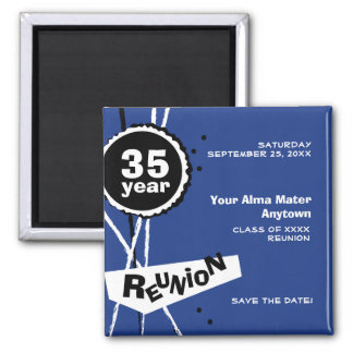 Blue and White 35 Year Class Reunion Magnet