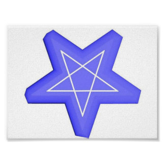 Blue and white 3d inverted pentagram print