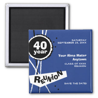 Blue and White 40 Year Class Reunion Magnet