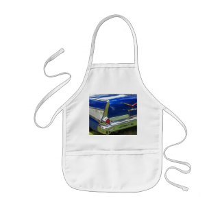 Blue and white 57 side tail fin red taillight kids' apron