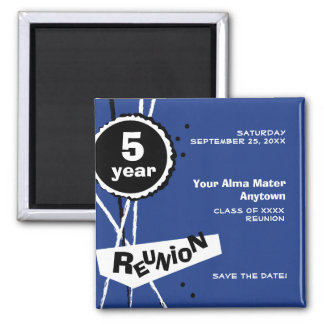 Blue and White 5 Year Class Reunion Magnet