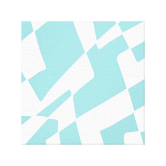 Blue and White Abstract Design Minimalist Squares Canvas Print