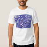 Blue and white abstract drawing shirts