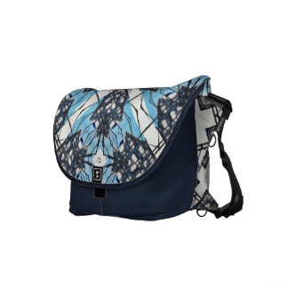 Blue and White Abstract Dutch House Sketch Courier Bag