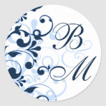 Blue and White Abstract Floral Envelope Seal Round Stickers