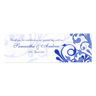 Blue and White Abstract Floral Favour Tags Double-Sided Mini Business Cards (Pack Of 20)