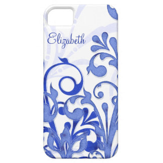Blue and White Abstract Floral iPhone 5 Case