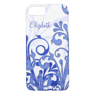 Blue and White Abstract Floral iPhone 8/7 Case