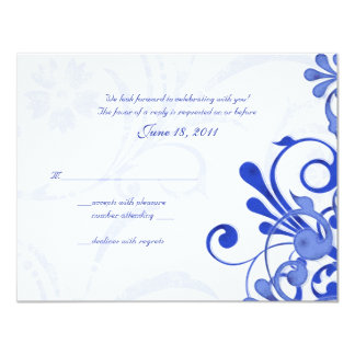 Blue and White Abstract Floral Response Card