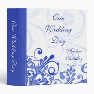 Blue and White Abstract Floral Wedding Binder